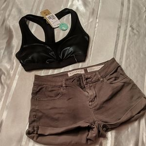 Bundle NWT Forever 21 Sports Bra and cuffed shorts